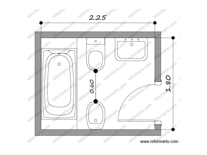 Reformar el baño - medidas de un baño rectangular con sanitarios enfrentados
