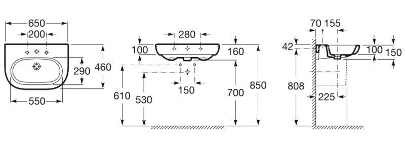 Reformar el baño - Medidas de un bao - Lavabo Meridian de ROCA