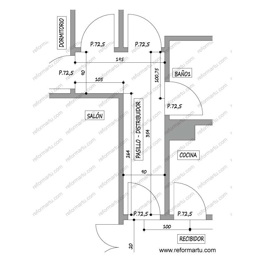 Medidas del pasillo / distribuidor