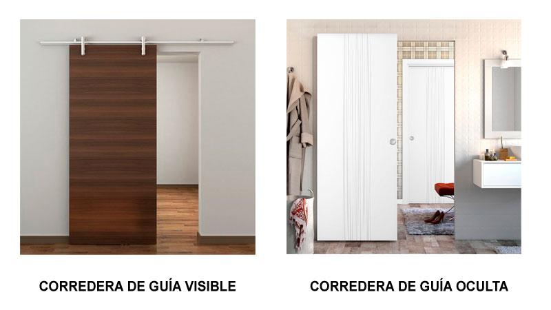 Tipos de puertas correderas con guía visible e invisible